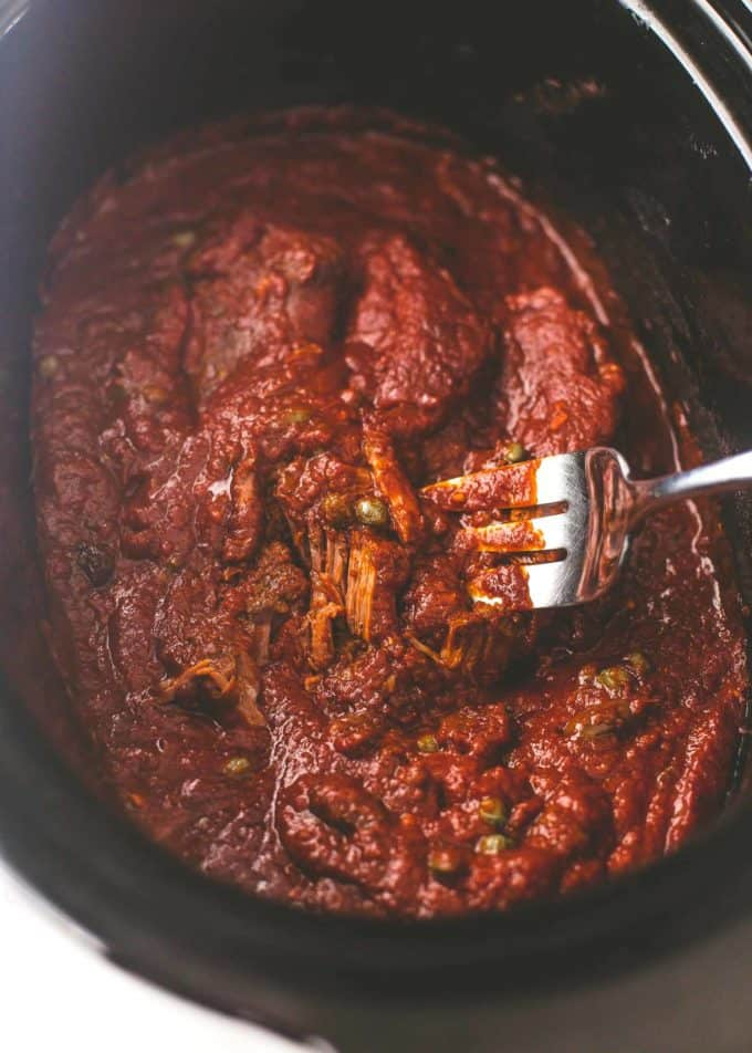 puttanesca sauce with beef in a slow cooker