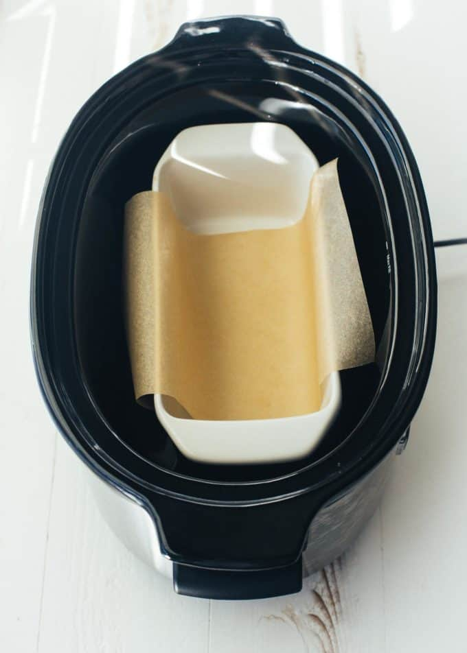 loaf pan in slow cooker