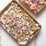 Easter Egg Crunch Bark on a sheet pan
