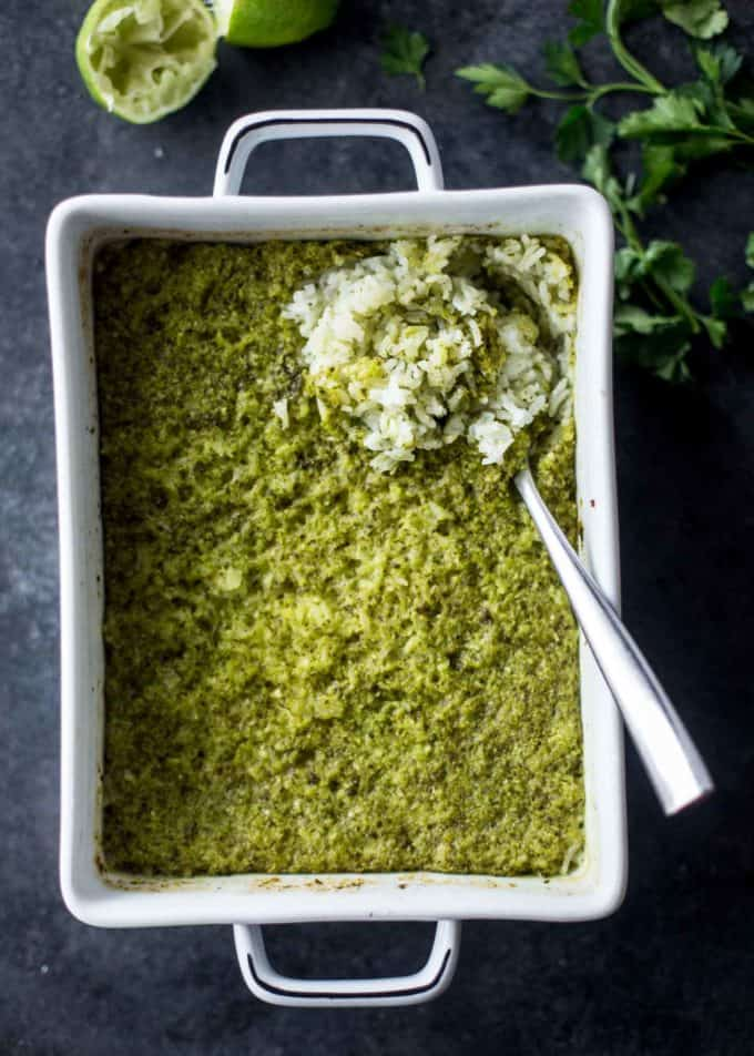 Baked Green Rice in a white baking dish