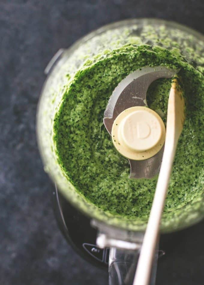 herb mix in food processor