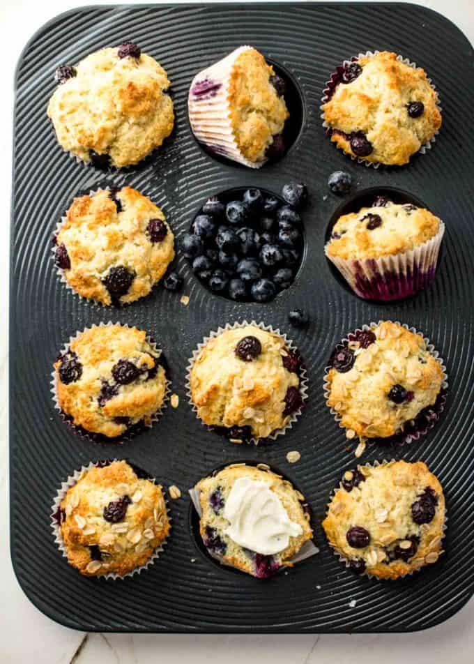 Blueberry Yogurt Muffins in a muffin tin