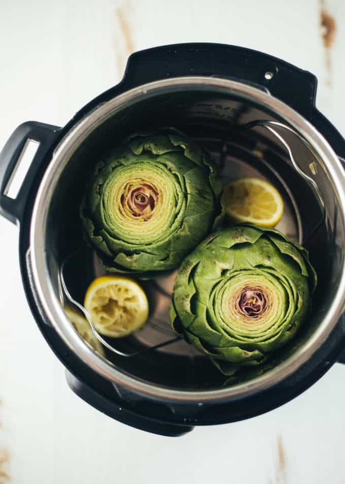 artichokes and lemons in an instant pot