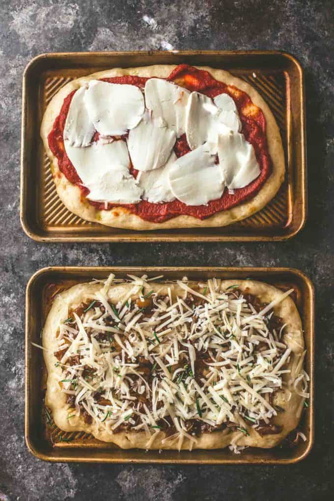 2 no knead pizzas on sheet pans