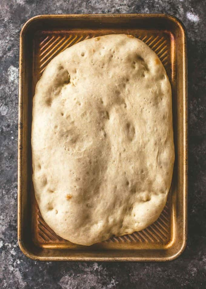 baked No Knead Pizza Dough on a sheet pan
