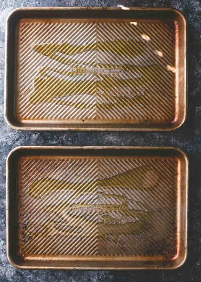 sheet pans drizzled with olive oil