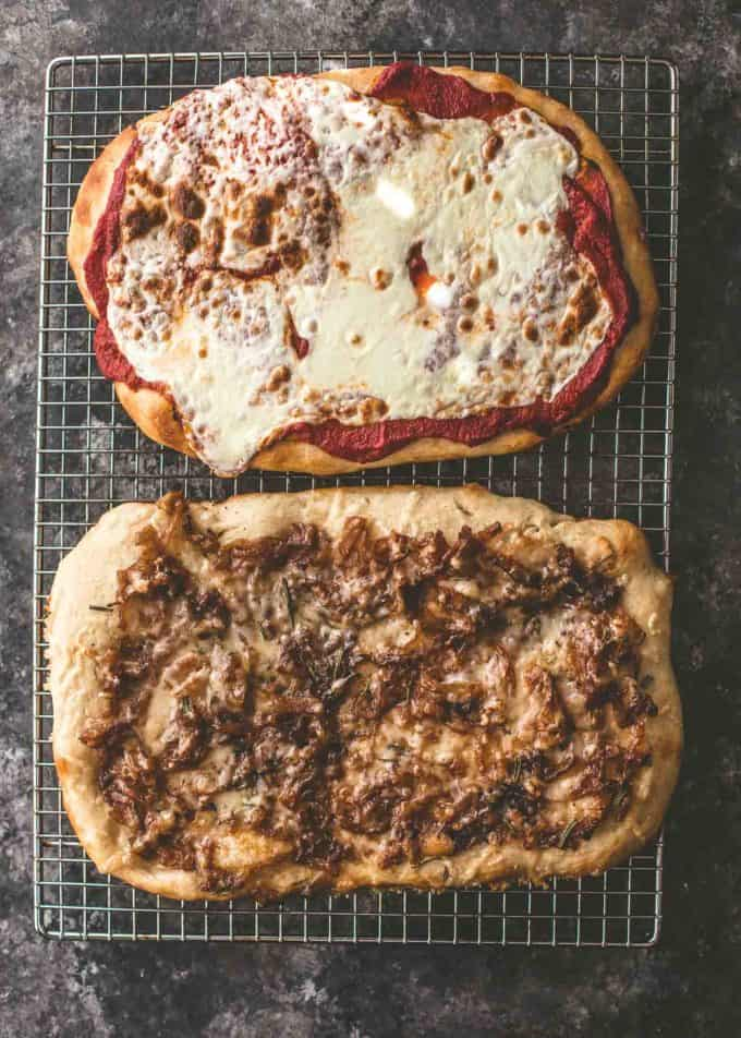 2 No-Knead Sheet Pan Pizzas on a cooling rack