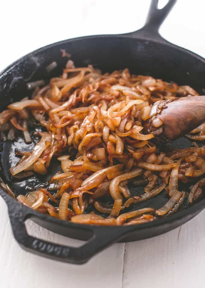caramelized onions in a cast iron skillet