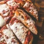 No knead sheet pan pizza, sliced