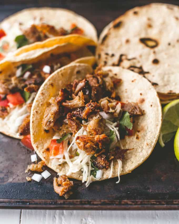 chicken carnitas tacos with toppings