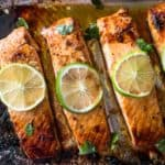 honey lime salmon on a sheet pan
