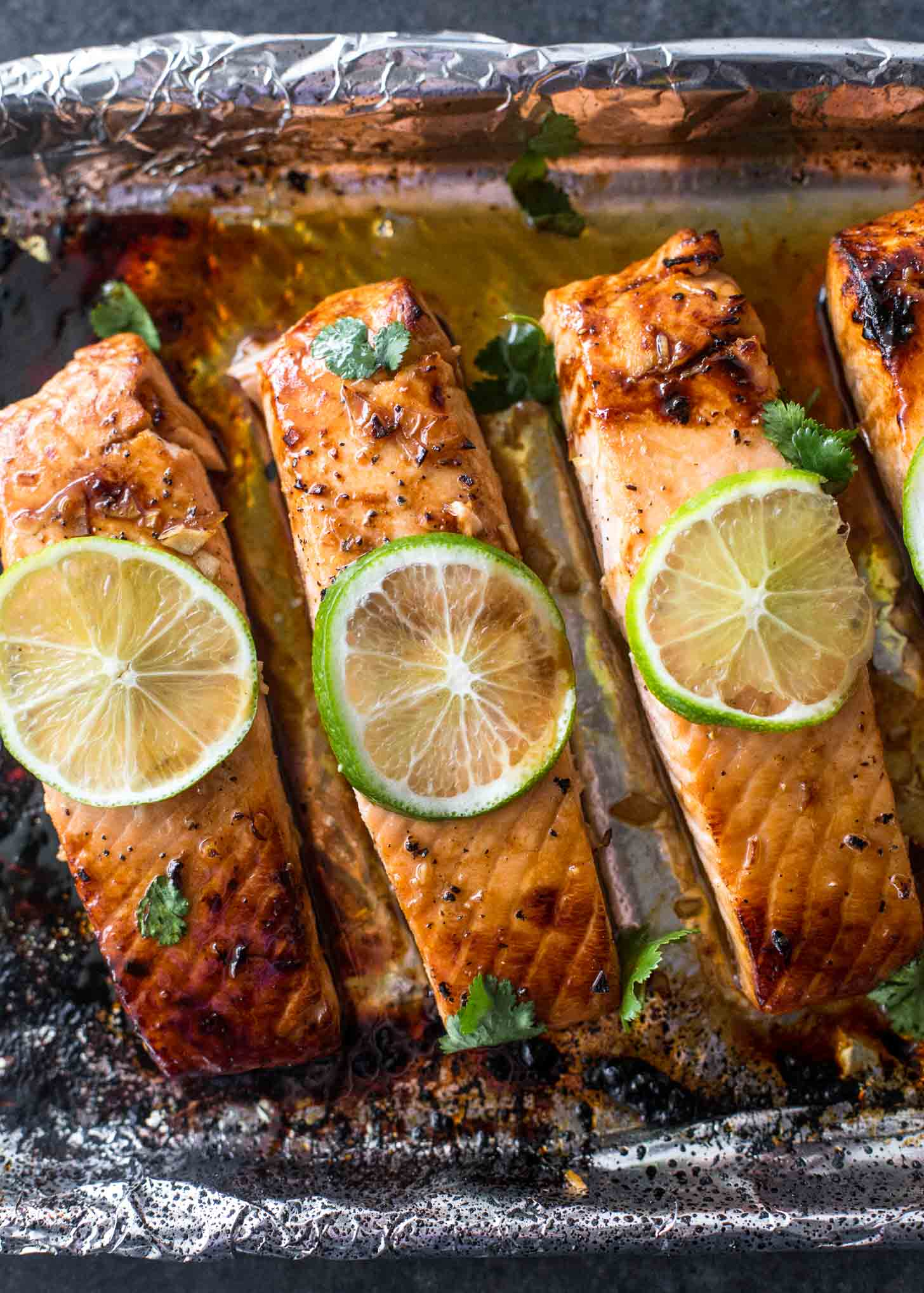 honey lime salmon on a sheet pan