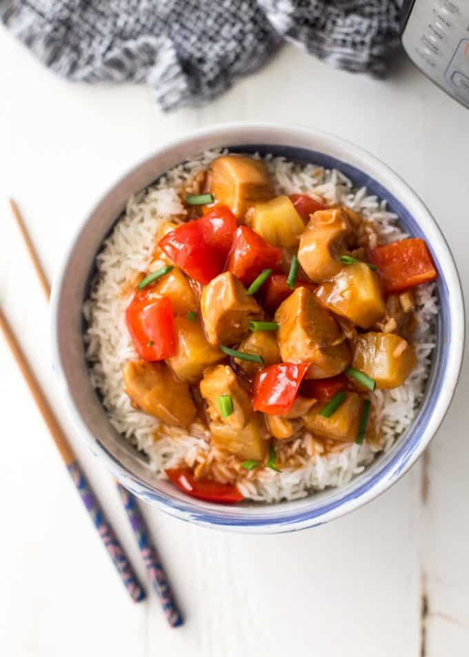 Instant Pot Sweet and Sour Chicken over rice in a bowl