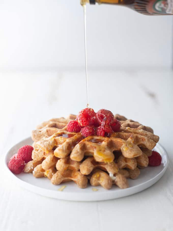 whole wheat waffles on a white plate