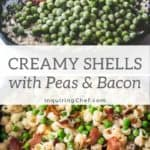 creamy shells with peas and bacon