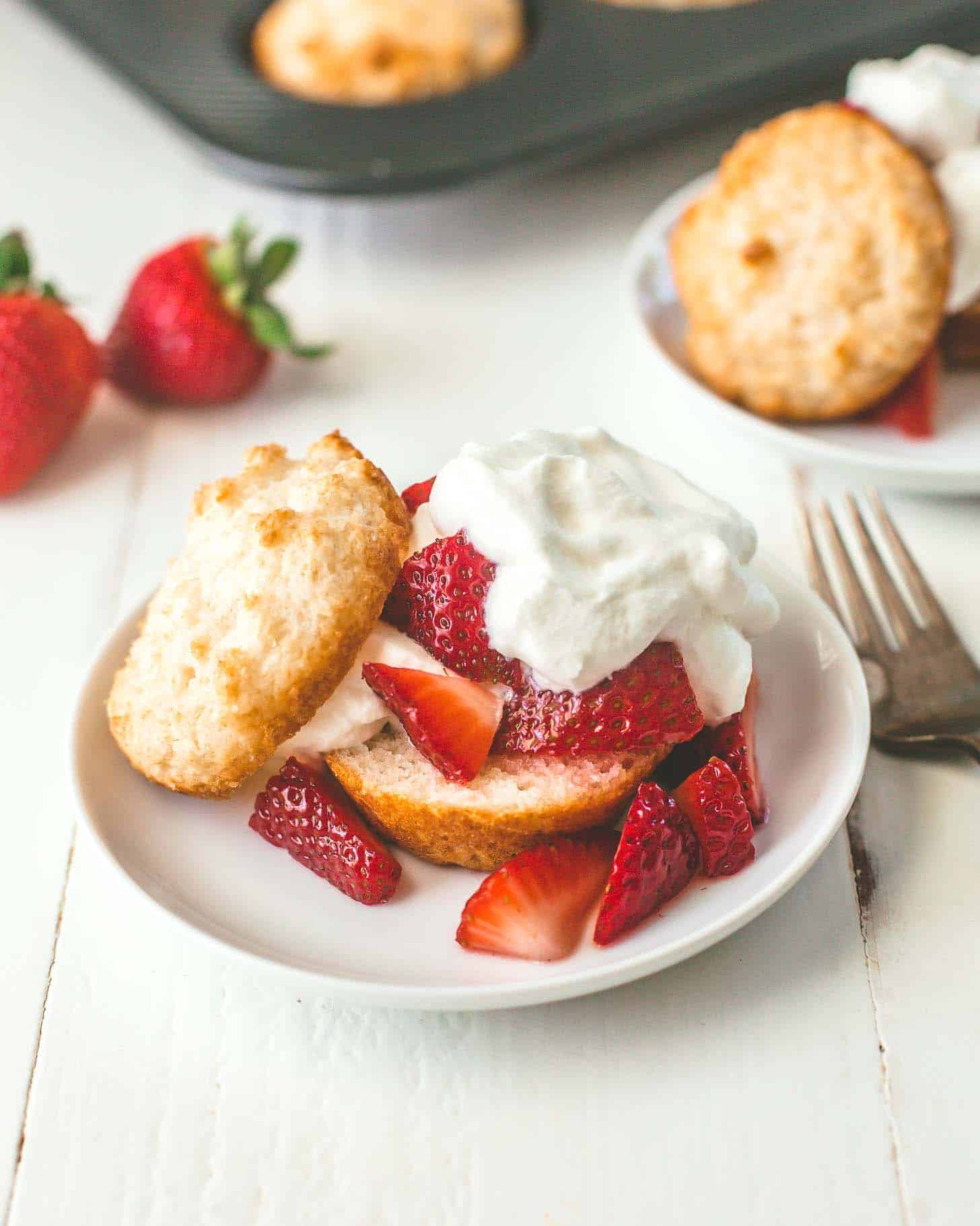 strawberry shortcake topped with whipped cream