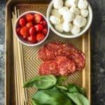 ingredients for pasta salad skewers