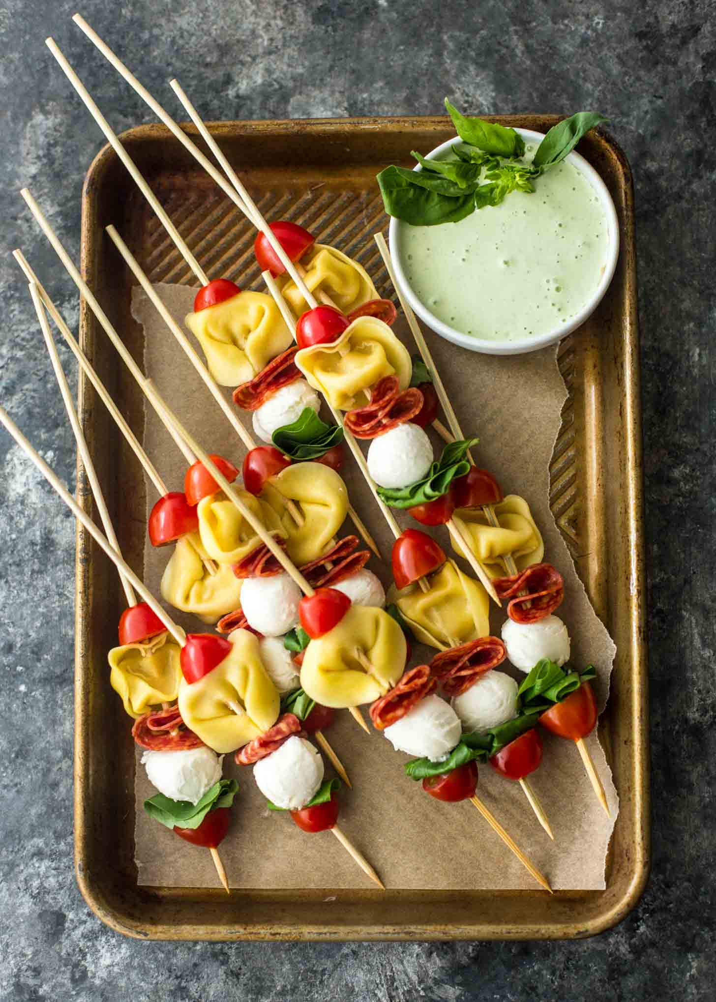 Pasta Salad Skewers on a tray