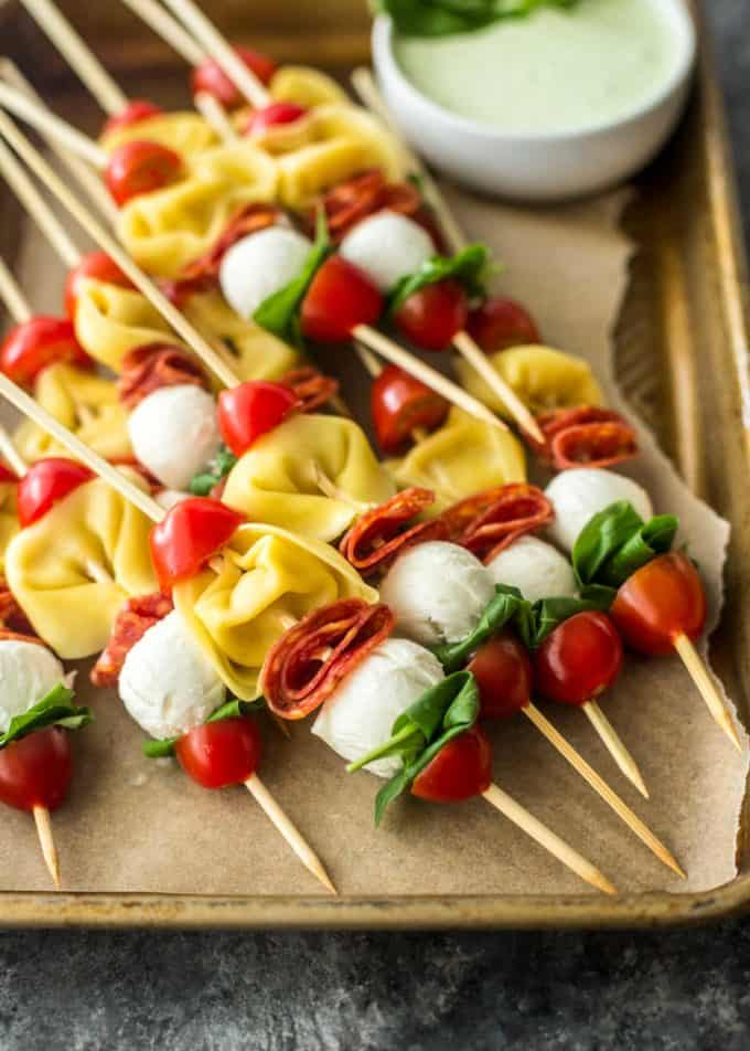 Pasta Salad Skewers on a parchment lined sheet pan