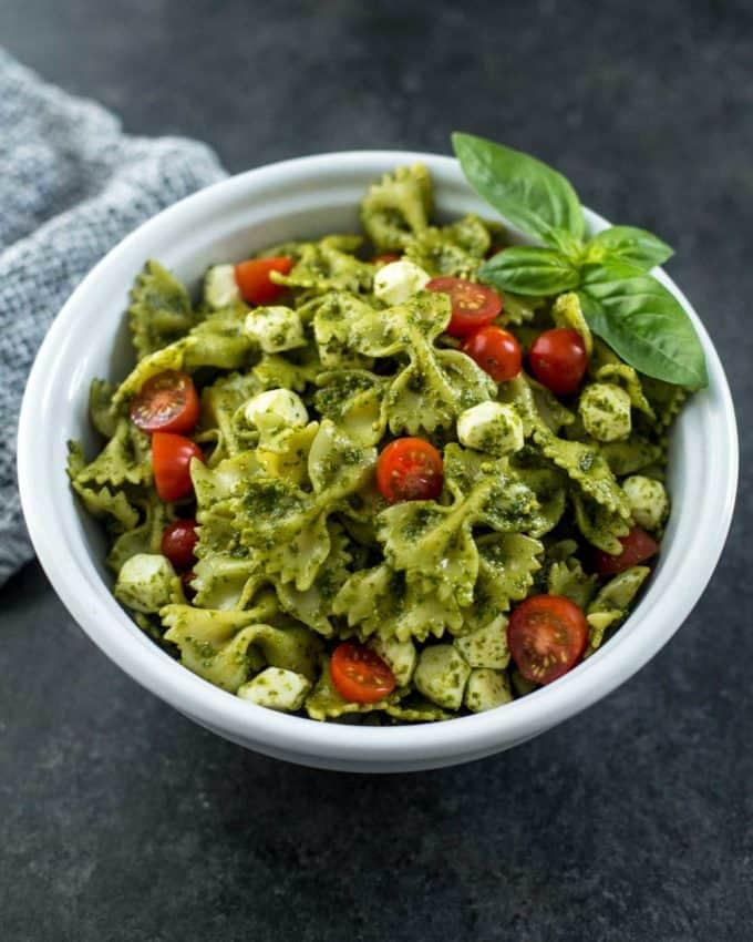 Pesto Pasta Salad in a white bowl