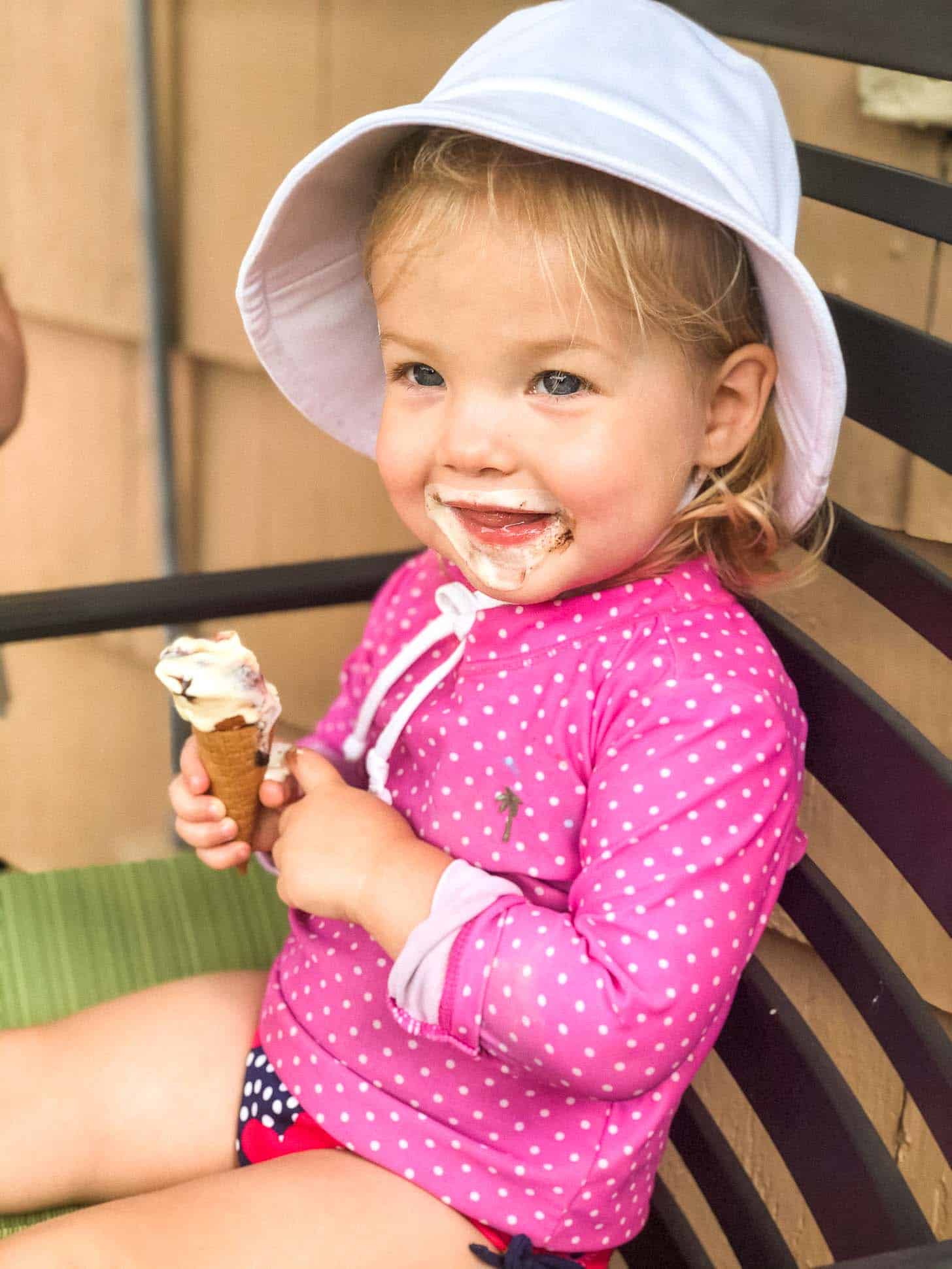 June with an ice cream cone in her hand