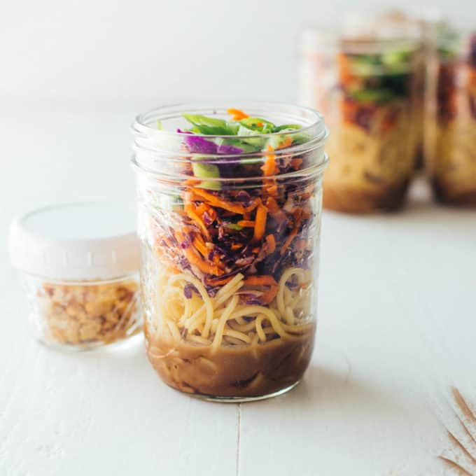 Mason Jar Sesame Noodles on a white table
