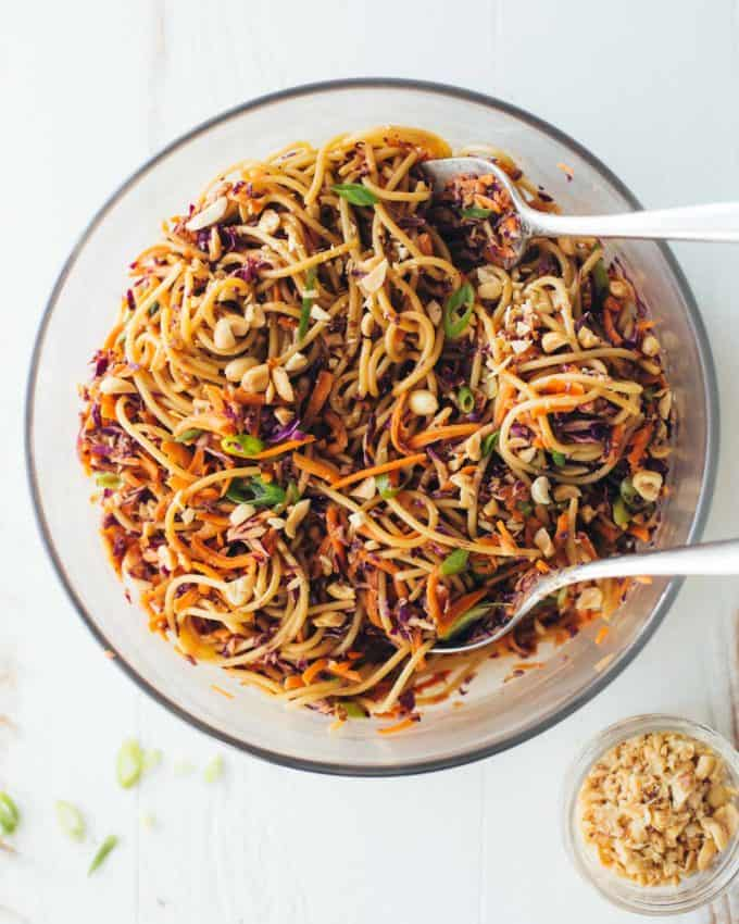 Sesame Noodle Salad in a bowl