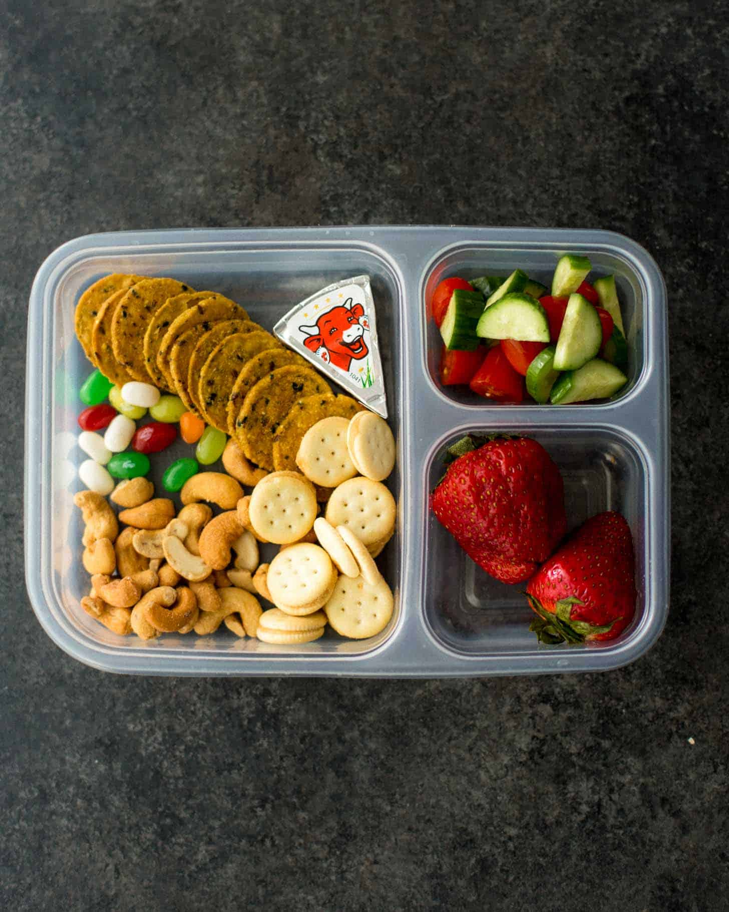 Ziploc lunch box packed with Bento lunch