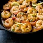 garlic shrimp in a cast iron skillet
