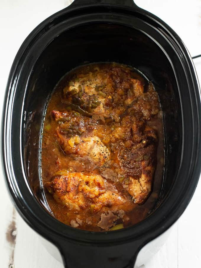 cooked hawaiian chicken in a slow cooker