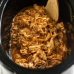 shredded hawaiian chicken in the slow cooker