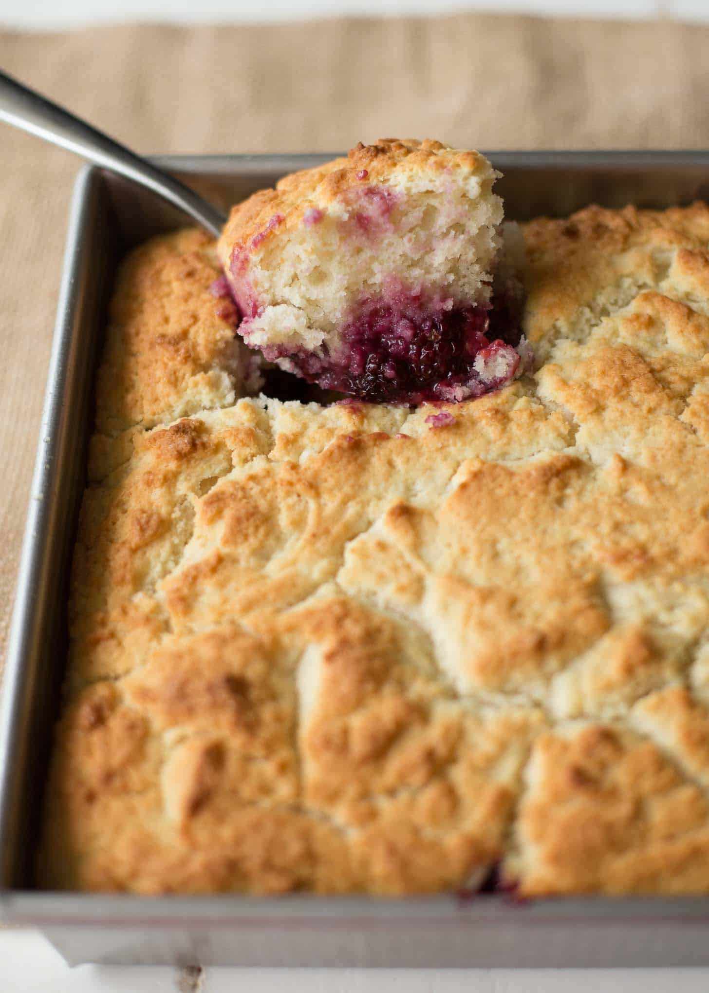 a spoonful of berry cobbler from a pan full of cobbler