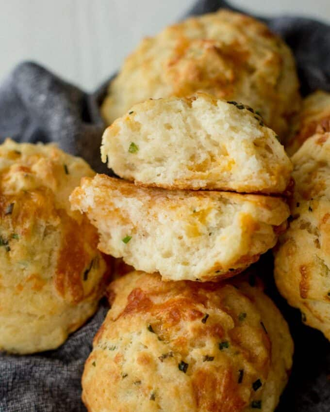 cheddar drop biscuits in a basket