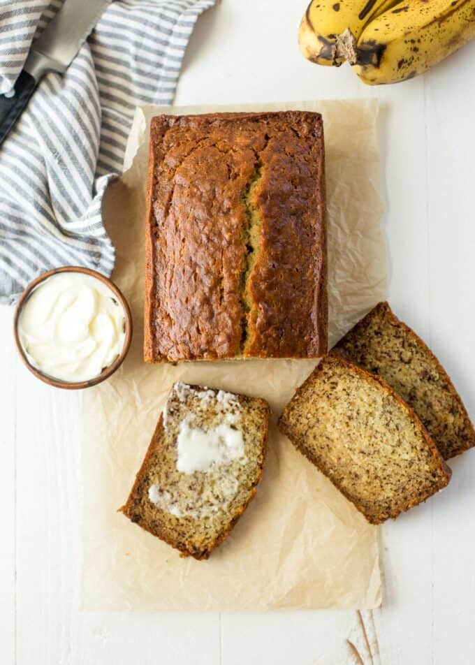 slices of banana bread on a white table