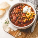 beef chili in a slow cooker