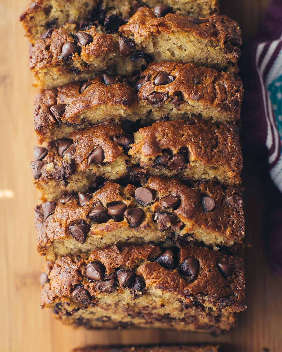 banana bread slices with chocolate chips