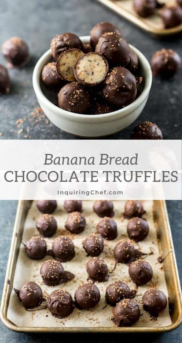 chocolate dipped banana bread truffles
