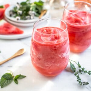watermelon froze in small clear glasses