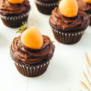 carrot top cupcakes on a white table top