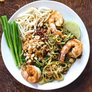 paleo pad thai with shrimp on a plate