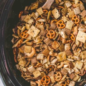 snack mix in a slow cooker