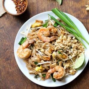 pad thai with shrimp on a plate