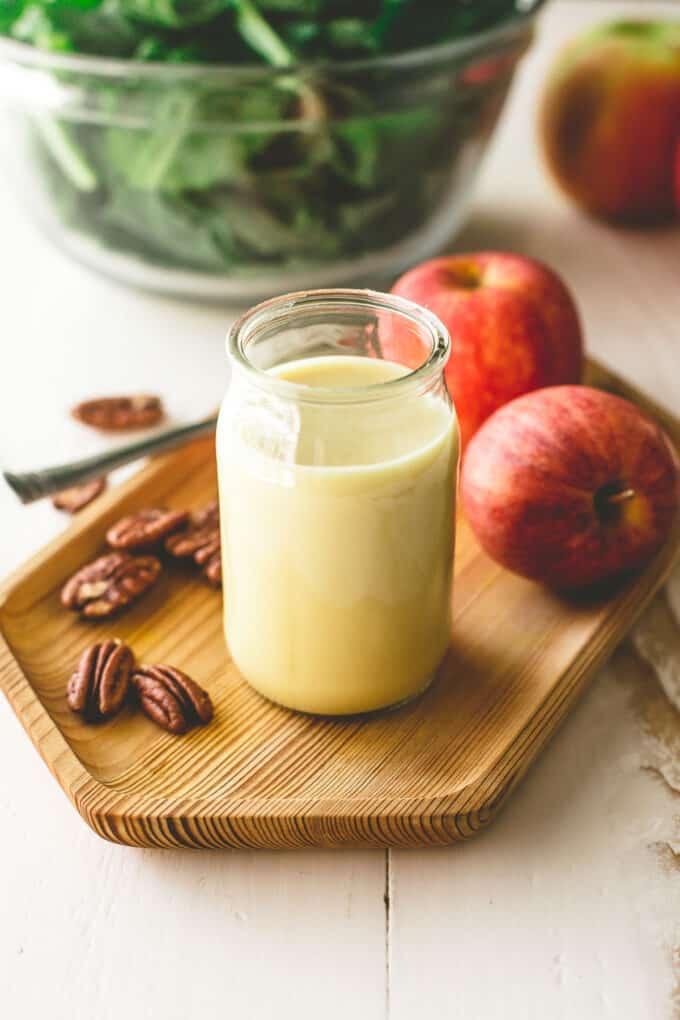 apple cider vinaigrette in a glass jar
