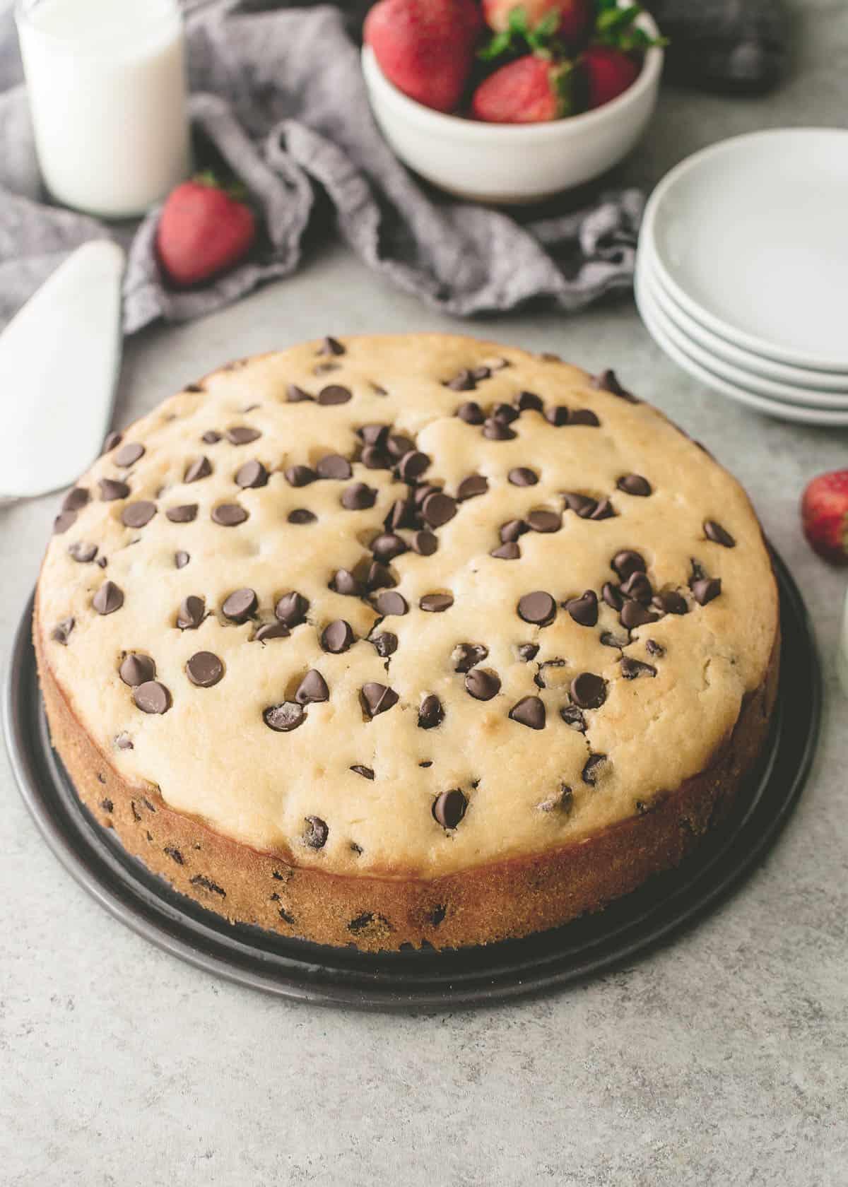 uncut chocolate chip ricotta cake