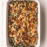 green bean casserole in a white baking dish