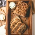 cinnamon crunch bread slices on a wooden tray