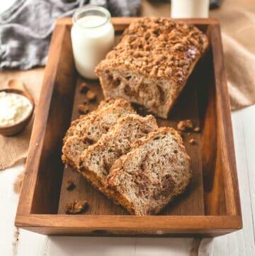 cinnamon crunch bread on a wooden tray