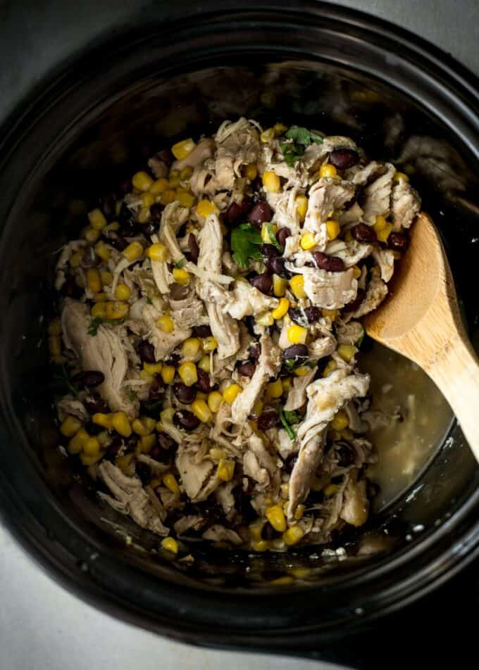 green salsa chicken in the slow cooker