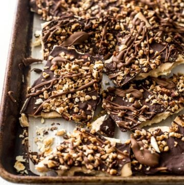 chocolate toffee bark on a sheet pan