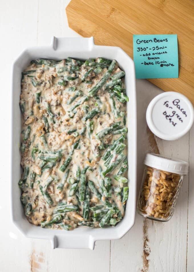 prepared green bean casserole in a baking dish